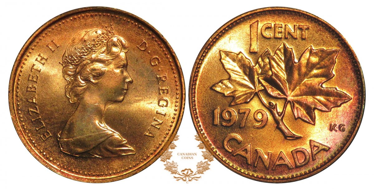 Canada 1 Cent 1979 With Double 9 And Die Deterioration