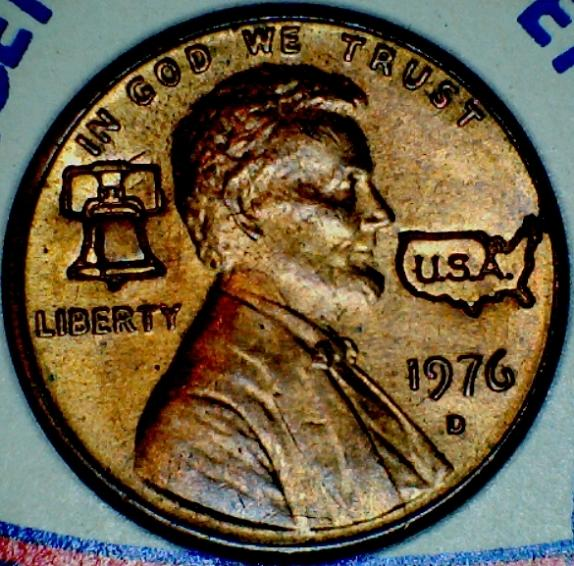 Ok    1976 D Cent with liberty bell and USA engraving? One